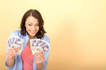 Young Happy Woman Holding Money Looking Pleased and Delighted