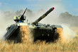 Постер, плакат: Main battle tank in the attack