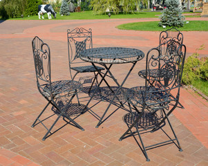 Garden shod furniture in the territory of the center of rest