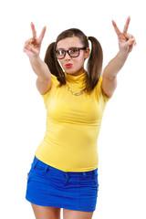 Girl has lifted thumb upwards