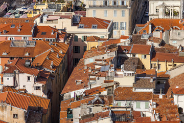 Nice, France. The top view on red roofs of the old city