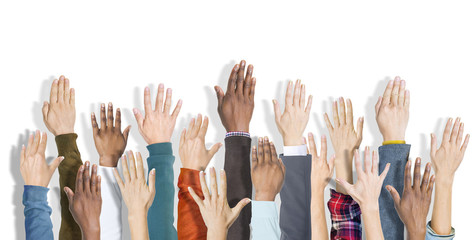 Group of Hands Raised Support Volunteer Concept