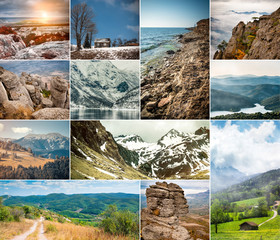 collage of photos mountain scenery