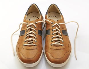Brown Leather Shoe with white shoelaces
