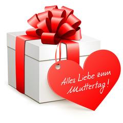 Geschenkbox mit Herzetikett - Muttertag