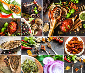 photo collage of various spices