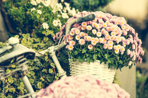 Plexiglas Fiets flowers in a basket on a bicycle