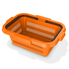 3d orange empty shopping basket