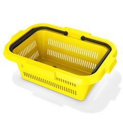 3d yellow empty shopping basket