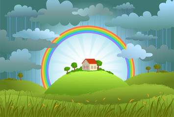 The rainbow protects the small house