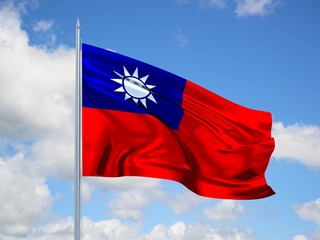 Taiwan 3d flag floating in the wind in blue sky