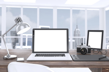 3D illustration laptop camera tablet on table in office