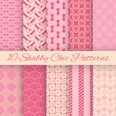 Shaby chic vector seamless patterns