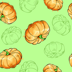 Pumpkins seamless pattern.