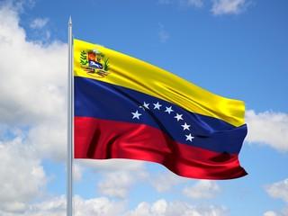 Venezuela 3d flag floating in the wind in blue sky