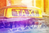 Fototapety Taxi Cab Car Roof Sign, Double Exposure