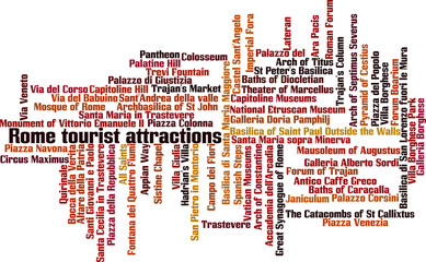Rome tourist attractions word cloud concept. Vector illustration