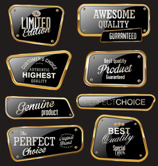 Premium quality gold and black labels