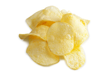 Potato chip on white background