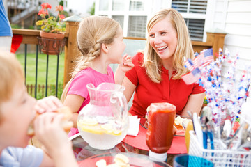Summer: Mom and Girl Laughing At Table
