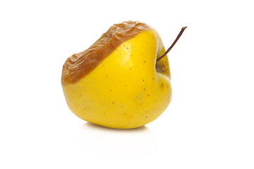 rotten apple isolated on a white background