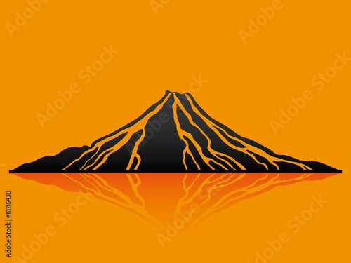 Vector illustration. Volcano. - 81116438