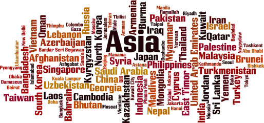 Countries in Asia word cloud concept. Vector illustration