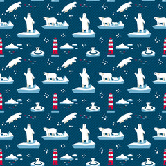Polar bear seamless pattern