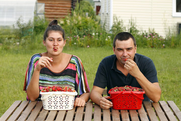 Happy man and woman eating strawberry
