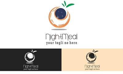 Night Meal Logo Vector