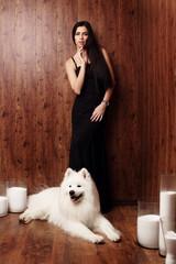brunette long black dress snow-white dog  husky studio