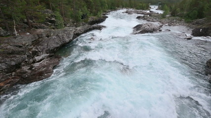 Summer mountain river view (Ottafossen, Norway).