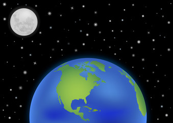 earth with moon background America