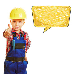 Kind als Bauarbeiter mit leerer Sprechblase