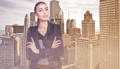 Double exposure city  business woman