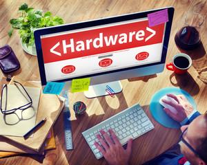 Digital Online Hardware Data Storage Office Working Concept