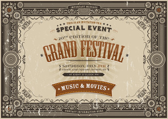 Vintage Retro Festival Poster Background