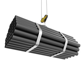 Crane hook lifting of steel pipes isolated