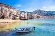 Leinwanddruck Bild - Old harbor with wooden fishing boat in Cefalu, Sicily