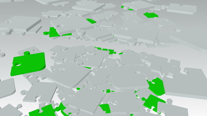 Falling, rotating abstract puzzle pieces in white and green