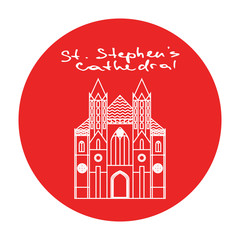 Vienna St. Stephens Cathedral vector red circle icon in linear