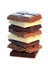 Chocolate selection in white isolated background
