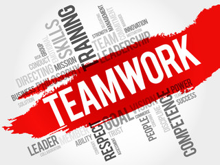 TEAMWORK word cloud, business concept