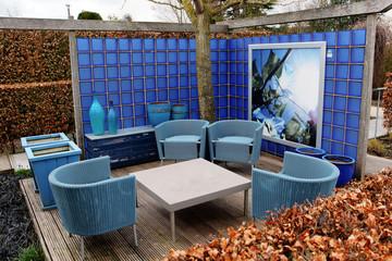 Modern blue garden corner