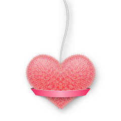 Fluffy pink heart on a rope with a banner for your text.