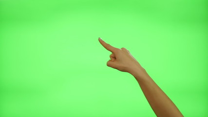 Female hand gestures on green screen: clapping, thumbs up