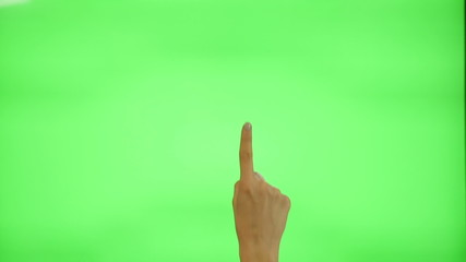 17 touchscreen gestures - female hand, on a green screen