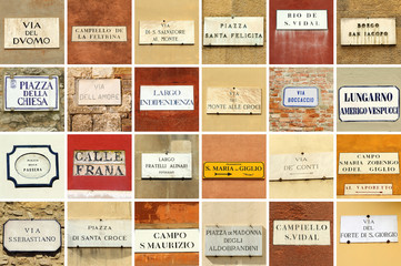 italian street names signs collage