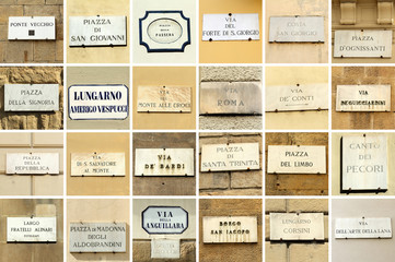 images with florentine street names - collage,Florence, Italy