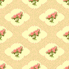 Vintage seamless pattern with roses and dots.